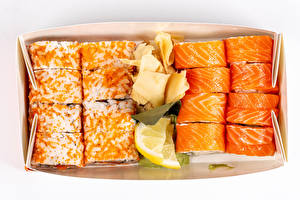 Pictures Sushi Cheese Lemons Caviar White background