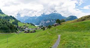 Bilder Schweiz Haus Berg Grünland Dorf Alpen Weg Ingenbohl Natur