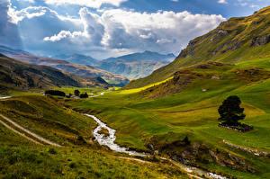 bilder Sveits Fjell Alpene Skyer Bekk  Natur bilder skrivebordsbakgrunn