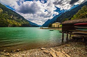 Pictures Switzerland Mountains Lake Alps Clouds Lago di Poschiavo Nature