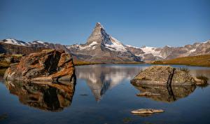 Wallpaper Switzerland Mountain Stone Lake Alps Stellisee, Zermatt Nature