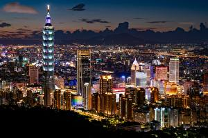 Image Taiwan Taipei Skyscrapers Building Megalopolis Night