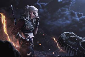 Photo The Witcher 3: Wild Hunt Warriors Armour Blonde girl Fanart Cirilla Games Girls