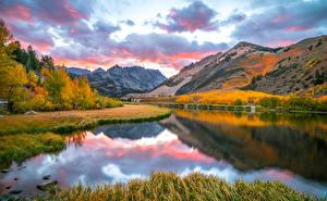 Bilder USA Herbst Berg See Kalifornien Wolke North Lake Natur