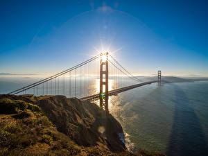 Hintergrundbilder Vereinigte Staaten Brücke Kalifornien San Francisco Sonne Golden Gate Bridge Natur