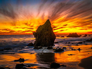 Fotos USA Küste Sonnenaufgänge und Sonnenuntergänge Ozean Kalifornien Felsen El Matador Beach