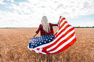 Wallpaper USA Fields Flag Blonde girl Back view young woman