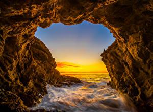 Fotos USA Ozean Morgendämmerung und Sonnenuntergang Kalifornien Felsen El Matador Beach