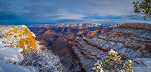 Wallpaper USA Park Grand Canyon Park Cliff Snow Canyons Arizona Nature
