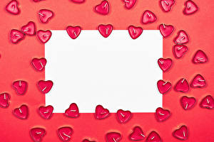 Picture Valentine's Day Candles Red background Template greeting card Sheet of paper Heart