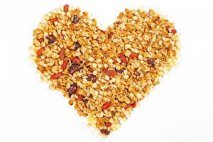 Papéis de parede Dia dos Namorados Mingau de aveia Passas Fundo branco Coração Alimentos imagens