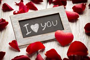 Picture Valentine's Day Petals Heart Lettering English