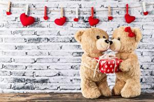 Fotos Valentinstag Teddy 2 Wände Wäscheklammer Herz Geschenke