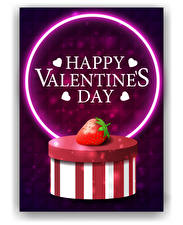 Pictures Valentine's Day Vector Graphics Strawberry White background Box Lettering English Heart