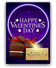 Bilder Valentinstag Text Englisches Farbigen hintergrund Herz Geschenke Schleife