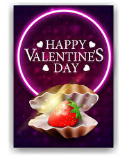 Wallpapers Vector Graphics Valentine's Day Shells Strawberry Word - Lettering English Heart