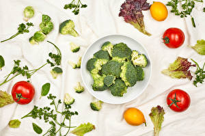 Images Vegetables Broccoli Tomatoes Lemons Plate