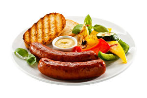Pictures Vienna sausage Bread Bell pepper Plate White background