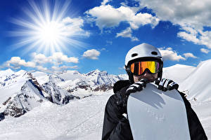 Wallpapers Winter Man Snowboarding Mountains Snow Glasses Helmet Rays of light Sport