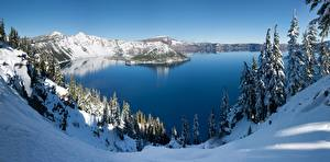 Picture Winter USA Park Lake Snow Crater Lake National Park, Oregon Nature