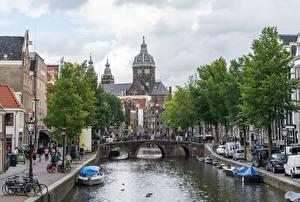 Desktop wallpapers Amsterdam Netherlands Bridge Boats Canal Trees Cities
