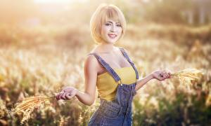 Wallpaper Asiatic Bokeh Blonde girl Glance Smile Hands Girls