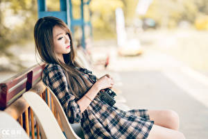Pictures Asiatic Bokeh Brown haired Sit Dress Hands Girls