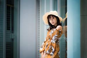 Bilder Asiaten Bokeh Brünette Der Hut Blick Kleid