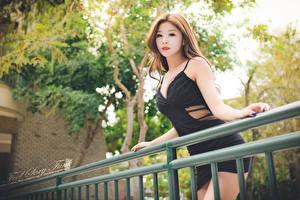 Hintergrundbilder Asiaten Bokeh Zaun Kleid Blick Hand junge Frauen