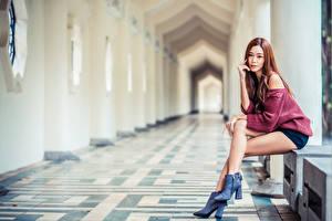 Bilder Asiatische Bokeh Sitzen Bein Blick Braune Haare Mädchens