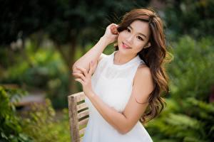 Image Asian Brown haired Staring Smile Bokeh Hands Girls