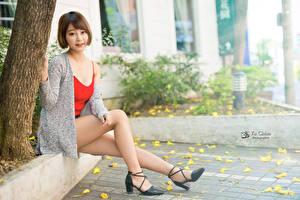 Bilder Asiaten Braunhaarige Sitzen Bein Stöckelschuh junge Frauen