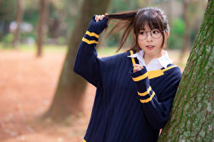 Picture Asiatic Lovely Sweater Eyeglasses Hands Blurred background female