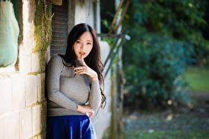 Bilder Asiatische Gestik Unscharfer Hintergrund Brünette Starren Hand Mädchens