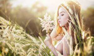 Images Asiatic Grass Spike Brown haired Hands Girls