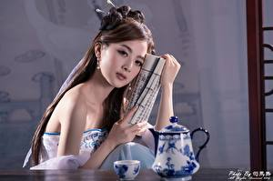 Desktop wallpapers Asian Kettle Bokeh Brown haired Glance Hands Girls