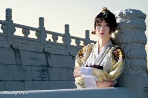 Hintergrundbilder Asiatisches Kimono Brünette Starren Hand junge frau