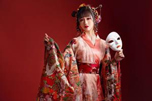 デスクトップの壁紙、、アジア人、仮面、和服、凝視、赤の背景、若い女性、
