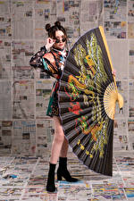 Picture Asian Posing Gown Hand fan Glasses Glance Girls