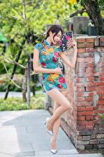 Hintergrundbilder Asiatisches Posiert Kleid Bein Fächer junge Frauen
