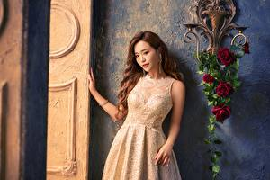 Wallpaper Asian Rose Brown haired Gown Hands Glance female