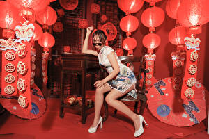 Pictures Asiatic Sit Frock Legs Eyeglasses Staring Girls