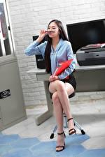 Wallpapers Asiatic Sitting Legs Skirt Blouse Secretaries young woman