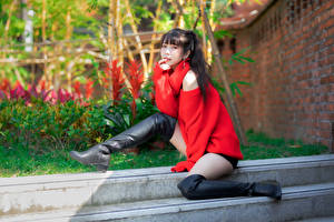 Wallpapers Asian Sit Legs Wearing boots Sweater Glance Girls