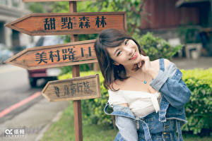 Images Asiatic Lettering Chinese Brunette girl Staring Smile Hands female