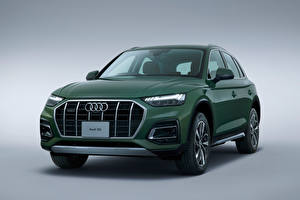Wallpaper Audi Crossover Green Metallic Gray background Q5 40 TDI quattro advanced, JP-spec, 2021 automobile