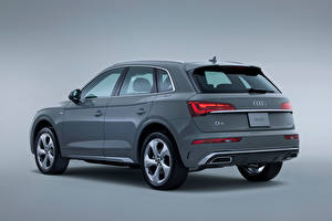 Images Audi Crossover Grey Metallic Gray background Q5 45 TFSI quattro S line, JP-spec, 2021 Cars
