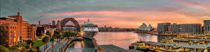 Bureaubladachtergronden Australië Jachthaven Cruiseschip Gebouwen Panorama Sydney Een stad Steden