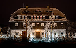 Wallpapers Austria Houses Winter Mansion Design Night time Snow