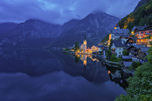Wallpapers Austria Lake Mountains Church Hallstatt Fog Night Hallstatt Lake, Upper Austria, Gmunden